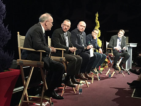 "Panelists at Entertainment Experience Evolution in Los Angeles on Feb. 24, 2016, discuss ""Creating the Retail Environment of the Future."" From left, Brian Jones, senior development advisor, ForestCity; Bill Fritsch, CEO, Digital Kitchen; Derek Coss, senior vice president of design, Ivanhoe Cambridge; Mike Sheldon, CEO North America, Deutsch; and Matt Billerbeck, senior vice president, CallisonRTKL."
